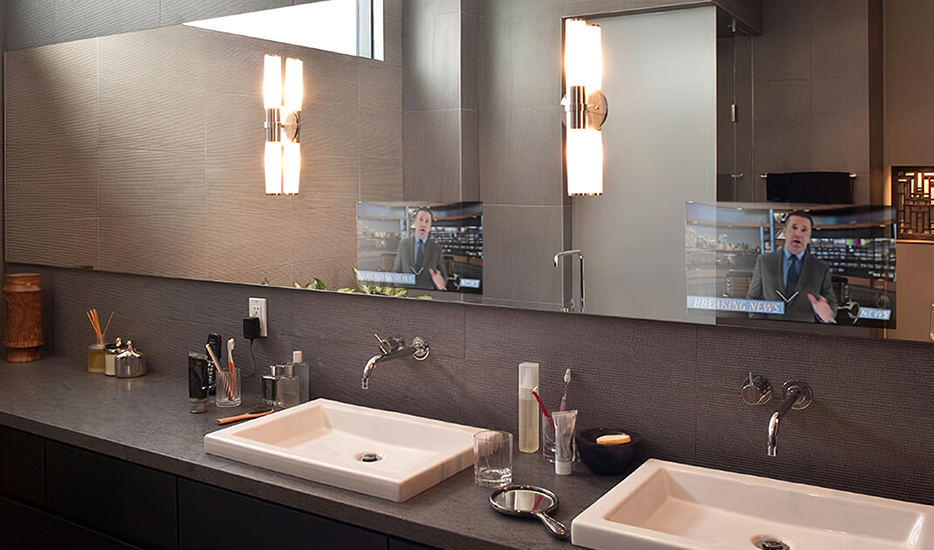 MirrorVue Mirror TV Double Sink installed in a hotel room